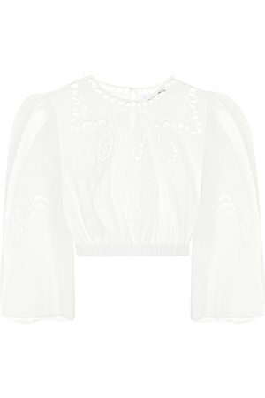 Rhode Kobieta Bluzki - Casper embroidered cotton crop top