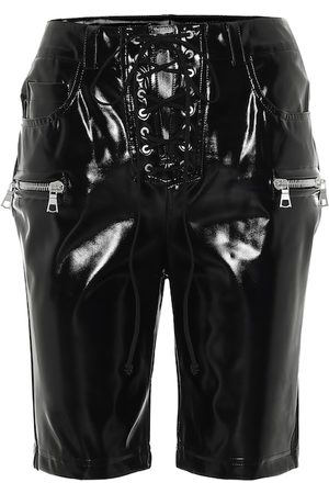 UNRAVEL Latex lace-up biker shorts