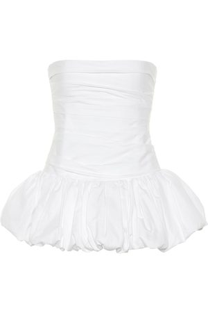 Khaite Kimmy strapless cotton peplum top