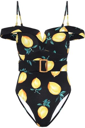 ALEXANDRA MIRO Lola printed off-shoulder swimsuit