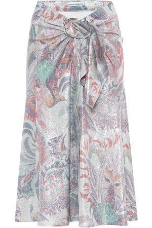Paco rabanne Kobieta Spódnice z nadrukiem - Printed metallic midi skirt