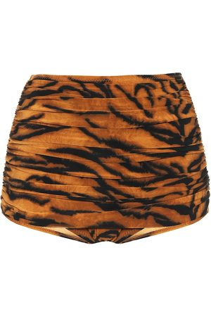 Norma Kamali Exclusive to Mytheresa – Bill tiger-print high-rise bikini bottoms
