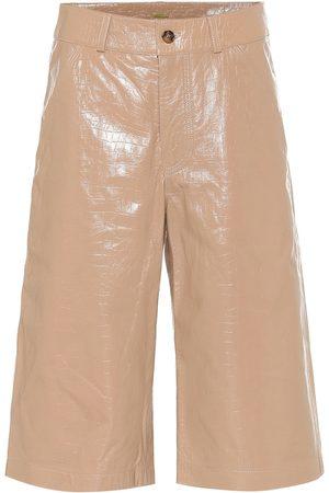 DODO BAR OR High-rise leather Bermuda shorts