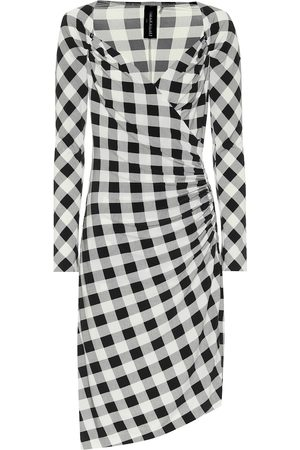Norma Kamali Exclusive to Mytheresa – Checked jersey asymmetric dress