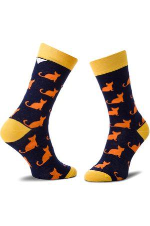 Cup Of Sox Skarpety Wysokie Unisex - Granatowe Trykoty W Oranżowe Koty C Granatowy