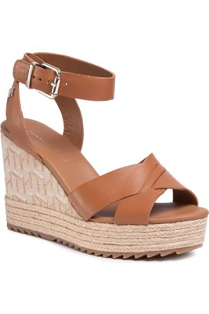 Tommy Hilfiger Espadryle - Th Raffia High Wedge Sandal FW0FW04842 Summer Cognac GU9