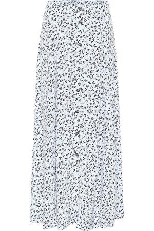 Ganni Kobieta Spódnice z nadrukiem - Printed high-rise crêpe midi skirt