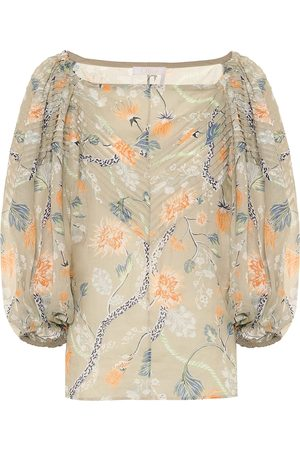Chloé Floral ramie off-shoulder blouse