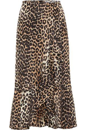 Ganni Kobieta Spódnice z nadrukiem - Leopard-print stretch-silk midi skirt