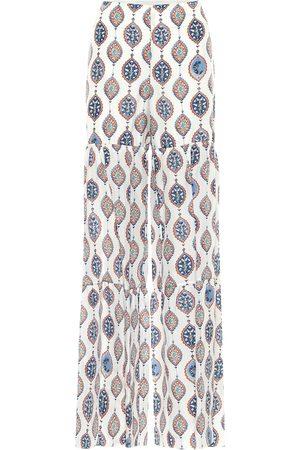 Chloé Printed habutai-silk wide-leg pants