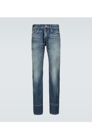 Saint Laurent Straight - Slim-fit washed denim jeans