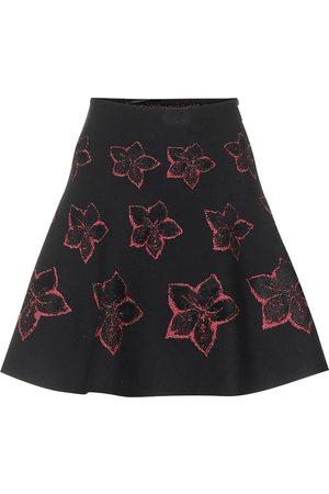 Alaïa Wool-blend floral knit skirt