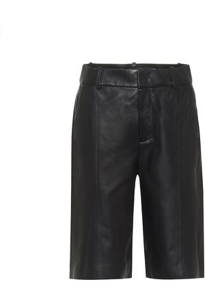 Vince High-rise leather Bermuda shorts