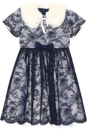 Rachel Riley Dziewczynka Sukienki - Faux fur collar lace dress