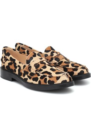 Tod's Leopard-print calf hair loafers