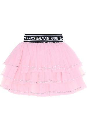 Balmain Embellished tulle skirt