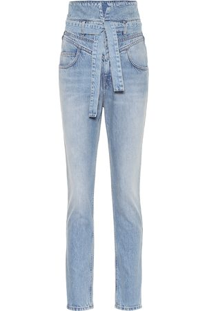 The Attico High-rise slim paperbag jeans