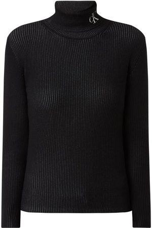 Calvin Klein Kobieta Golfy - Sweter z wywijanym kołnierzem o prążkowanej fakturze