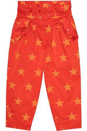 The Animals Observatory Dziewczynka Spodnie - Camel printed stretch-satin pants
