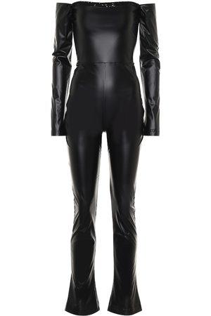 HALPERN Off-shoulder faux leather jumpsuit