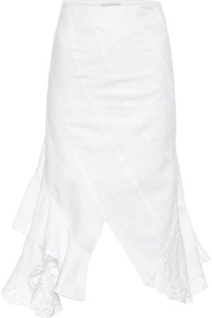 Marine Serre Asymmetric cotton midi skirt
