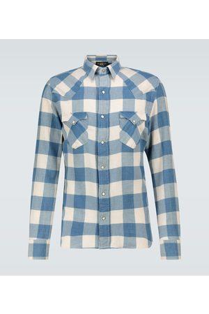 RRL Mężczyzna Na co dzień - Cotton-linen checked flannel shirt