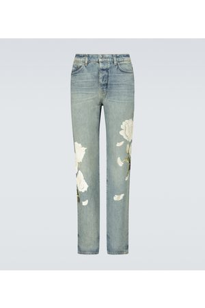 AMIRI Luźne i Boyfriend - Flower painted relaxed jeans