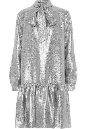 tibi Kobieta Sukienki - Tie-neck lamé minidress