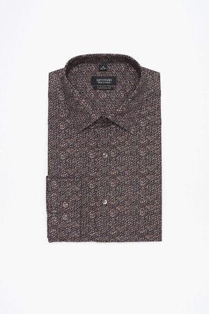 Recman Mężczyzna Z długim rękawem - Koszula coline 3031 długi rękaw custom fit brąz