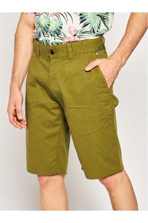 Mężczyzna Straight - Tommy Jeans Szorty materiałowe Dobby Chino DM0DM07940 Zielony Regular Fit