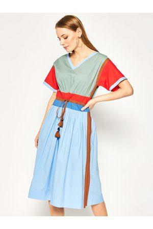 Kobieta Sukienki dzienne - Tory Burch Sukienka codzienna Color-Block Poplin 63610 Kolorowy Regular Fit