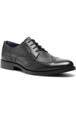 Tommy Hilfiger Półbuty - Brogue Leather Lace Up Shoe FM0FM03104 Dark Ash PTY