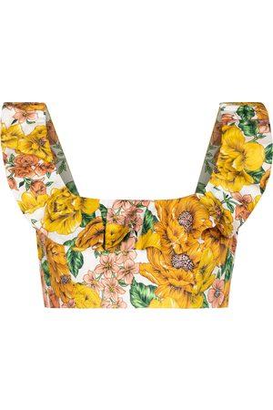 ZIMMERMANN Kobieta Topy - Poppy floral linen crop top