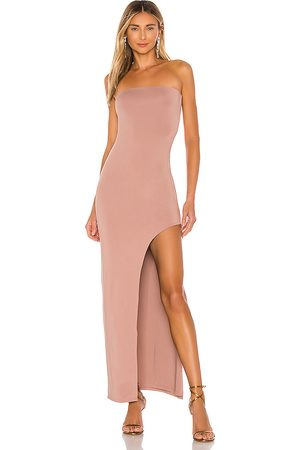 superdown Toni Slit Maxi Dress in - Taupe. Size L (also in M, S, XL, XS).