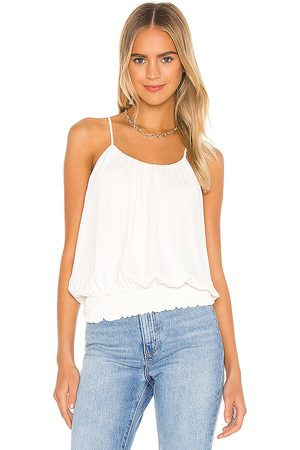 krisa Smocked Waist Halter Tank in - Ivory. Size L (also in M, S, XS).