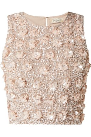 Lace & Beads Top krótki z cekinami model 'Hazel'