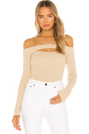 Lovers + Friends Cut Out Off Shoulder Top in - Cream. Size L (also in XS, S, M, XL).