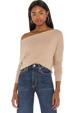 ENZA COSTA Cashmere Cuffed Off Shoulder Long Sleeve Top in - Tan. Size S (also in XS).
