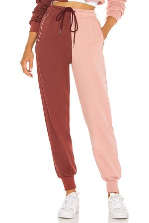 superdown Renna Two Tone Sweatpants in - Pink, Burgendy. Size L (also in XXS, XS, S, M, XL).