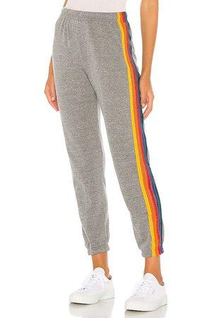 AVIATOR NATION 5 Stripe Sweatpants in - Grey. Size L (also in M, S, XS).