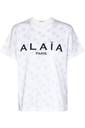 Alaïa Kobieta Z krótkim rękawem - Logo cotton jersey T-shirt