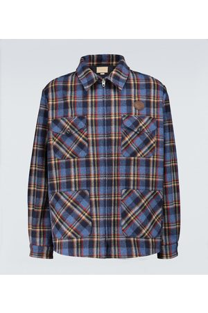 Gucci Checked overshirt with tiger patch