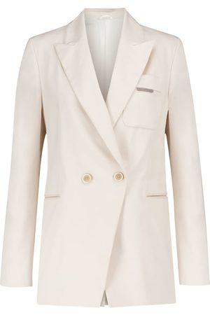Brunello Cucinelli Double-breasted cotton twill blazer
