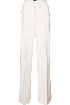 Dolce & Gabbana Kobieta Spodnie z szeroką nogawką - High-rise wool-blend gabardine pants