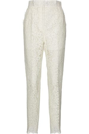 Dolce & Gabbana High-rise lace cotton-blend pants