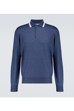Brunello Cucinelli Cashmere-blend long-sleeved polo shirt