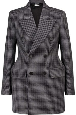 Balenciaga Hourglass houndstooth virgin wool blazer