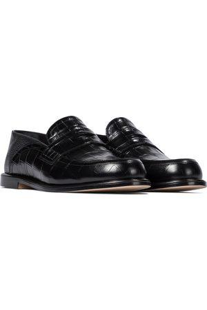 Loewe Slip-on croc-effect leather loafers
