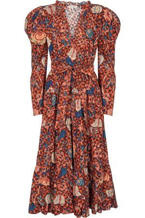 ULLA JOHNSON Kobieta Sukienki z nadrukiem - Nanette floral cotton midi dress