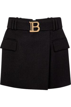 Balmain Belted low-rise wool miniskirt